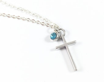 Small Cross Pendant Necklace, Birthstone Cross Necklace, Silver Cross Necklace, Religious Jewelry, Christian Jewelry, Sympathy Gift Memory
