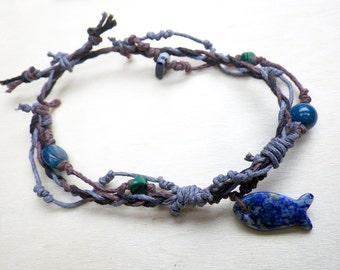 Lapis Fish, Malachite & Aquamarine (adjustable) Hemp Bracelet