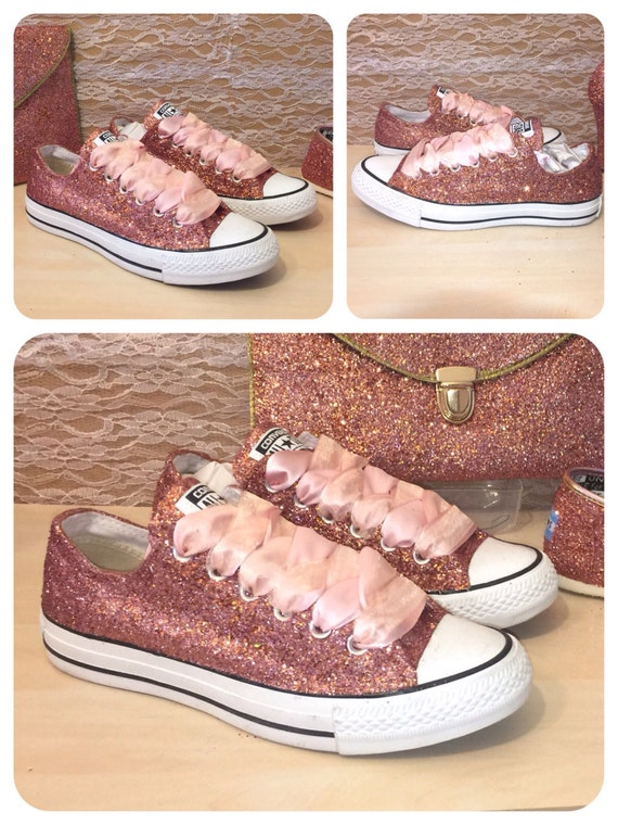 womens metallic rose gold glitter converse all by. Black Bedroom Furniture Sets. Home Design Ideas