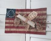 1776 American Flag Patriotic Door Hanger - Quilted Flag - Primitive Americana