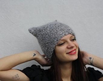 Grey hat Cat ears hat Knitted hat Cat ears beanie Womens hat Grunge hat Slouchy hat Knitting animal hat Gifts for her Girls hat Animal lover