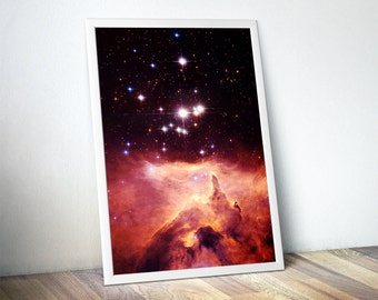 Outer Space Astronomy Art Print, Nebula Cluster Print, Hubble Telescope Photograph, Inspirational Poster, Gift Idea, FREE SHIPPING