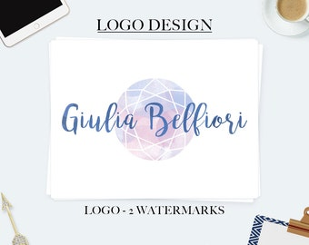 Gem logo, jewelry logo, crystal logo, premade branding package, business logo design, watercolor logo, premade logo, boutique logo design