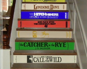 Classic Books, Stair Decals, Famous Literature, Riser Stair Decals, Vinyl  Decals For
