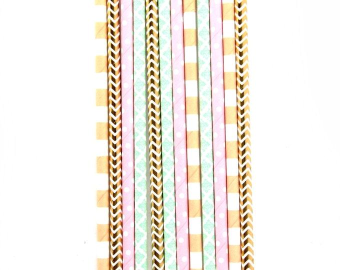 Jamboree Celebration Straw With Gold Flag, Paper Straw, Pink Peach Mint Gold Straw Straw Flag Baby Shower or Wedding Straw, Decorative Straw