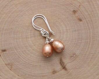 Freshwater Pearl Earrings, Pearl Dangle Earrings, Sterling Silver, Drop Earrings, Peach Pearl Jewelry
