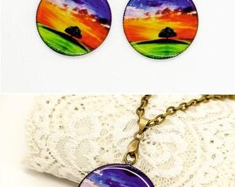 Tree of life earrings Chakra jewelry Statement earrings Meditation Yoga jewelry Spiritual gifts for mom sister jewelry Zen Energy jewelry