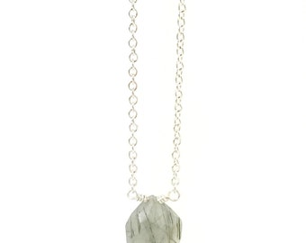 Tourmalinated Quartz Necklace, Teardrop necklace, Faceted, Dainty, Delicate, Silver, Bridesmaid Gift, Gemstone, Gem, Gray, Stone Necklace