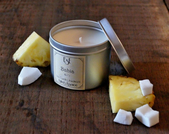 "Soy Candle, Coconut Pineapple, ""Bahia"",  6oz, Tin candle, Scented Candle, Exotic, Fruity, Luxury Favors, Wedding, Luxury candle, Home decor"