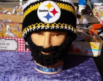 PITTSBURGH STEELERS Bearded Beanies,STEELERS Embroidered Patch, Customize, Velcro Both Sides Beard& Beanie,Velcro 4 Perfect Fit