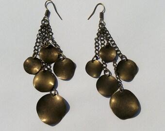 Brass Earrings - Hammerd Coins - Dangle Earrings