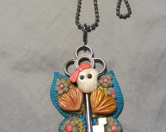Polymer Clay Jewelry Skullerfly Sugar Skull Butterfly Skeleton Key Pendant Ball Chain Necklace Turquoise/Gold/Coral