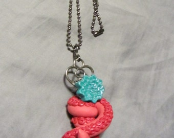 Polymer Clay Jewelry Tentacle & Flower Skeleton Key Pendant Ball Chain Necklace Pink/Turquoise