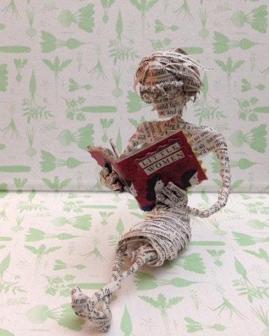 Little Women, Louisa May Alcott, book sculpture, repurposed book, paper sculpture, book art, paper mache, book lover, librarian, teacher