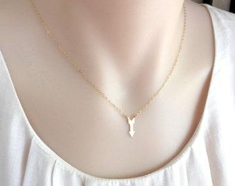 Gold or Silver Arrow Necklace, Dainty Arrow, Graduation Necklace, Achieve Your Dream Necklace, Chevron Necklace, Inspiration Necklace