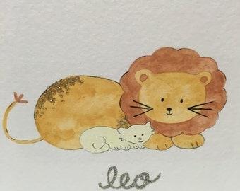 Leo Baby and Child Zodiac Picture