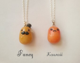 Kawaii and fancy potato pendant, handmade charms, miniature food jewelry, potato necklace, mustache pendant, kawaii potato, best friend gift
