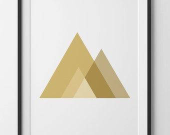 Gold Geometric Wall Art Triangle Mountains, Gold Triangle Décor, Mustard and Bronze Gold Triangles, Mountain Triangles, Digital Print