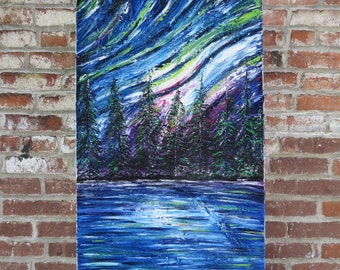 Original palette knife painting by MEDArts Landscape Aurora borealis Pine trees Forest Night stars Impasto colorful modern Northen light