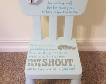 Time Out Chair - Boys - Personalized - Children - Timeout Chair