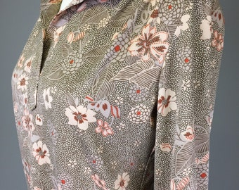 Sale! 70s, Boho Chic, Floral Blouse // 1970s, Pink, Tan, Top, Women's Size Small, Medium