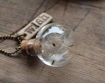 Dandelion necklace, real dandelion seed, wish necklace, nature necklace, bottle necklace, make a wish, wish