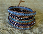 Crystal Leather Wrap Bracelet - Light Blue and Amethyst Mix: 5 Wrap Bracelet, Boho Chic, Gift for Her, Beaded Leather Wrap, OOAK