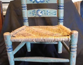 Vintage Folk Art Doll/Child Chair Blue