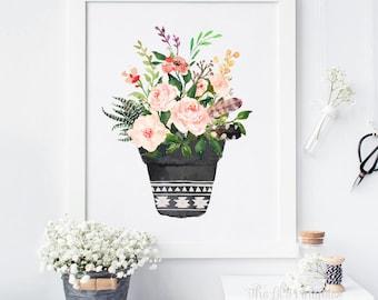 Floral Potted Plant Printable, Floral Wall Decor, Succulent Print, Botanical Printable, Watercolor Floral Print, Wall Art Printable