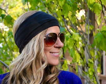 BUY 2 get 1 FREE!! Flat Headband, Yoga Headband, Fitness Headband, Workout Headband, Black Jersey Headband, Turban headband, boho Hairband,