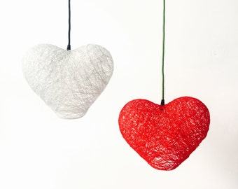 "Cor - Red modern pendant light - heart hanging light - globe hanging lamp ceiling (12""-30 cm)"