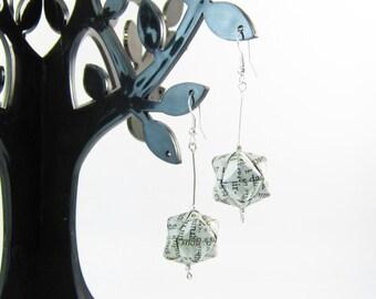 Origami newspaperjapanese style earrings
