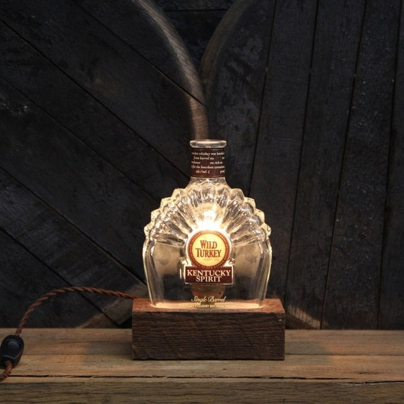 Handmade Recycled Wild Turkey Bourbon Bottle Lamp - Features Reclaimed Wood Base, Edison Bulb, Twisted Cloth Wire, In line Switch, And Plug