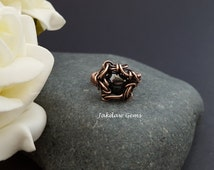 Hand Woven Hematite and Copper Ring