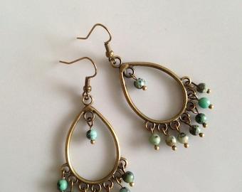 Rustic earrings • Turquoise Jewellery • Ethnic earrings • Bohemian earrings • Boho earrings • Tribal earrings •  Turquoise earrings