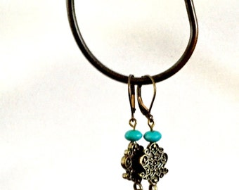 Turquoise Howlite and Antiqued Brass Filigree Lever Back Earrings