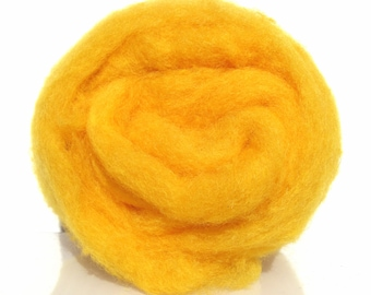 Carded wool batt for needle and wet felting. Strong and stable fiber. Dyed wool. Mustard yellow. Egg york Yellow