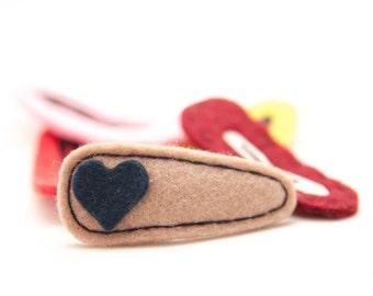 Heart Hair Clip Navy/Khaki, Wool Felt Hair Clip, Baby Hair Clip, Toddler Hair Clip, Simple, Modern, Barrette, Kids Accessory