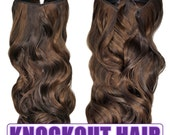 "Fits like a Halo Hair Extensions 20"" - 150 Grams 100% Premium Fiber Wavy Hair (Dark Chocolate Brown/Light Brown P#04L/08)"