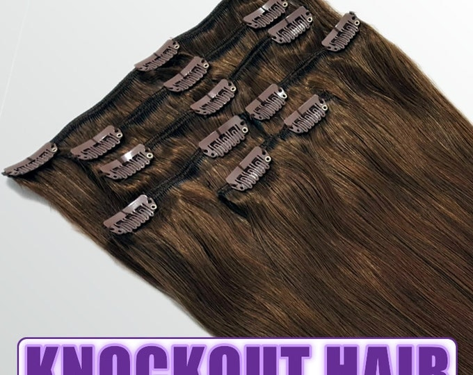 "Clip In Human Hair Extensions 18"" - 120 Grams Full Head Remy Premium Grade AAAAA Double Wefted (Medium Golden Brown #3)"