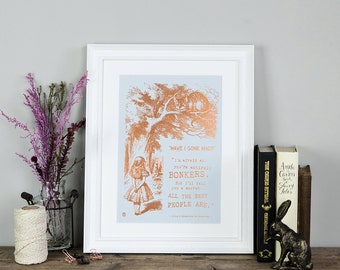Copper Foil Art Print - Gift For Daughter - Foil Print - Birthday Present - Book Lover Gift - Alice In Wonderland Wall Art - Bonkers Print