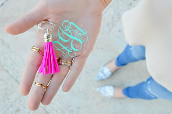 Monogram key chain with tassel