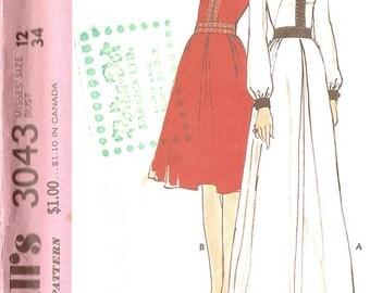 McCall's 3043 Women's 1970's Dress - Size 12 UNCUT