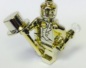 Custom Lego Collectible Minifigure Series 10 Chrome Gold Mr. Gold Mr Gold Print