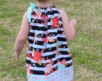Girls Pillowcase Dress - coral mint gold baby dress toddler dress pillowcase dress floral triangles