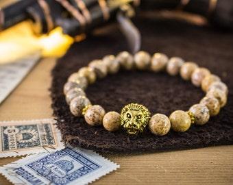 8mm - Jasper stone beads gold Lion stretchy bracelet, made to order yoga bracelet, womens bracelet, mens bracelet