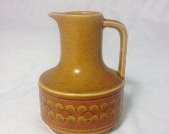 Hornsea Saffron Oil Vinegar Jug Holder 1970s Vintage Retro Kitchen Amber Brown Mocha Floral Pattern