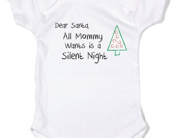 Silent Night- 100% cotton 7.2 knit, christmas baby, infant onsies, funny baby onsies, funny infant clothing, baby clothes, boy/girl