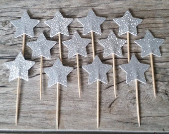12 Silver Star Cupcake Toppers