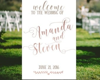 Rose gold wedding signs Welcome to the wedding of Party welcome sign Reception signs Classic Custom wedding sign Ceremony Summer wedding